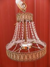 Vintage Ornate Silver Crystal Beaded Electric Light Chandelier Ceiling Mount