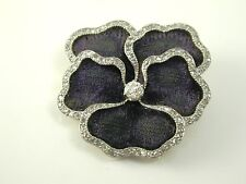 Antique Diamond & Velvet Pansy Pin brooch 18ct gold stunning French 1890s 1900s