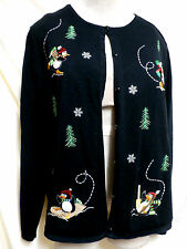 Croft & Barrow EUC Embroidered Penquin Christmas Cardigan Sweater XL