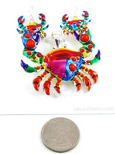 Multi-Colored Magnetic Crab Pendant With Matching Dangling Hook Earrings