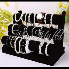 3-Tier/T-bar Velvet Watch/Bracelet Jewelry Display Organizer Stand Holder Rack O