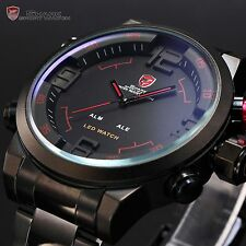 U.S.A Gulper SHARK Luxury Mens Stainless Steel Sport LED Date Day Quartz Watch