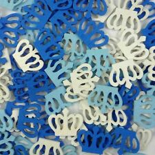 50pcs Mixed Blue White Wood Crown Flatback/Buttons Lots Sew Craft Cards