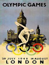 Sport anuncio 1948 Juegos Olímpicos de Londres Anillos Big Ben Reino Unido arte cartel impresión lv7461