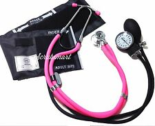 NEW Pink Sprague Stethoscope & Aneroid Sphymomanometer Blood Pressure Set 340