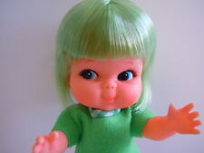 SUPER RARE 1960'S JAPAN MADE BIG EYES DOLL GREEN HAIR KIDDLE. KIDDLIE KNITS BOOK