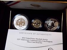 "2015 ""W"" U.S Marshals Service 225th Anniv. Proof (3 Coin Set) Box & COA Gold"