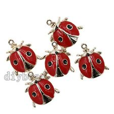 10pcs Hot Charms Gold Plated&Red Enamel Alloy Ladybird Design Pendants Fit DIY D