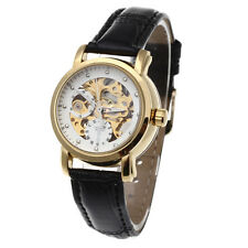 Women Skeleton Automatic Mechanical Wrist Watch Leather Band White Dial Gift