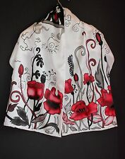71-17in Hand painted red Poppy silk scarf ASAP Luxury gift Red black white scarf