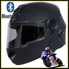 TORC BLUETOOTH FULL FACE HELMET MODULAR FLIP UP DUAL VISOR MATTE FLAT BLACK XL
