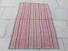 Old Tribal Nomadic Hand Made Persian Oriental Pink Wool Jajim Kilim 170x120cm