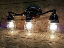 Mason Jar Light 3-Light Weathered Bronze Vanity Light Pint Ball Mason Jars