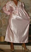 M / L SHINY PINK VINTAGE SATIN LINGERIE GRANNY SLIP LONG SLEEVE NIGHTGOWN