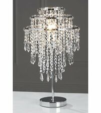 3 Tier Jewelled French Style Silver Table Lamp Beaded