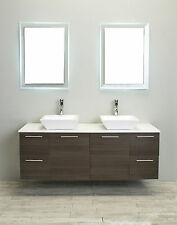 "EVIVA 60"" LUXURY DOUBLE SINK BATHROOM VANITY IN GREY OAK"