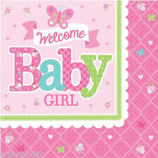 WELCOME LITTLE GIRL SMALL NAPKINS (16) ~ Baby Shower Party Supplies Beverage