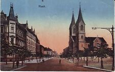 Czech Plzen - Main Street and Cathedral old unused postcard