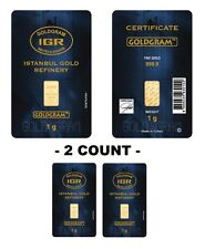 Lot of 2 - 1 gram Istanbul Gold Refinery (IGR) Bar .9999 Fine (In Assay Card)