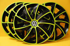 "16"" VW TRANSPORTER T5,Sharan,Golf,Eos...WHEEL TRIMS,COVERS,HUB CAPS,Green&Black"