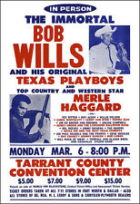 BOB WILLS MERLE HAGGARD WILLIE NELSON 1972 Fort Worth Texas Concert Poster