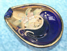 Moser Cobalt Blue Glass Pin Tray or Salt? Enamel & Gold Bohemia Bohemian Czech
