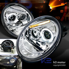For 1998-2005 VW Beetle Chrome Projector Headlights Pair