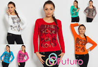 Sexy Women's Top With Trendy Print Casual Long Sleeve Blouse Crew Neck FB06