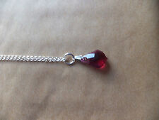 DEEP RED CRYSTAL 12mm DROP PENDANT on 18 Inch 925 silver Trace Chain