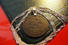 """ANTIQUE 1800's EGYPTIAN  BRONZE  Pendant on a 28"""" 925 Sterling Silver Wavy Chain"""