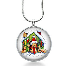 Christmas Dog House Necklace - Snow Jewelry - Pets Pendant - Animals