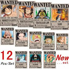 12 Pcs New ONE PIECE Straw Hat Pirates Set Luffy Ace Zoro Chopper Wanted Porters