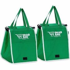 2 Bags Of As Seen On TV Grab Bag Clip-To-Cart Reusable Grocery Shopping Bags NEW