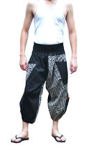 Thai fisherman pants Yoga Hippie Boho Aladdin Harem pants Black tradition stone