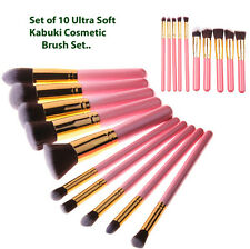 LOVM 10 Pce KABUKI MAKE UP BRUSH SET-Ultra Soft Hair Wooden Pink & Gold Handles
