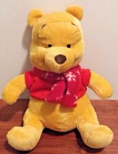 Disney Winnie The Pooh Stuffed Plush Toy with Christmas Snowflake Scarf 11.5""