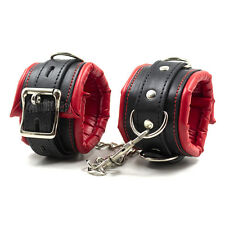 Adult Red Leather Slave Bondage Fetish BDSM Ankle Cuff Fetish Restraints Sex Toy