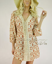 Bella Kern CROCHET Bohemian PRINT Gauze Kimono Tunic Top SHIRT DRESS Cover up S
