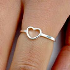 .925 Sterling Silver Ring size 4 Heart Midi Knuckle Fashion Kids Ladies New p56