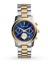 NWT Michael Kors Women's Chronograph Runway Two-Tone Blue Dial Watch MK6165 $250