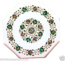 Size 1'x1' Marble Corner Coffee Table Top Malachite Mosaic Floral Home Decor