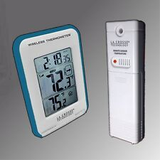 Blue Trimmed La Crosse Large Display Wireless Indoor/Outdoor Thermometer NIB
