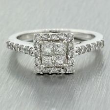 Vintage Estate 14k Solid White Gold 1.60ctw Princess Cut Diamond Engagement Ring
