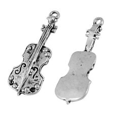 Packet of 8 x Antique Silver Tibetan 33mm Charms Pendants (Violin) ZX15315