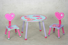 Kids Table and 2 Chairs Set  with Heart Theme Back