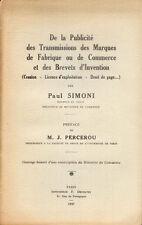 De la publicité des transmissions des marques.../Paul Simoni/1937