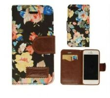 For IPHONE 5S Flower Fabric & Leather Wallet Flip Cover Stand Case New I01-003