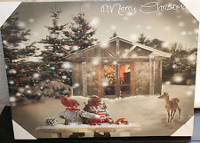 LED Fibre Optic Wall Picture Merry Christmas Tree Winter Scene  40 x 30cm