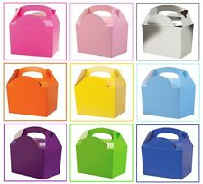 16 Assorted Plain Coloured Childrens Picnic Meal Food Birthday Party Bag Boxes