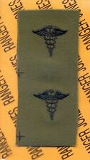 US Army Medical Corps Branch OD Green & Black sew on patch set